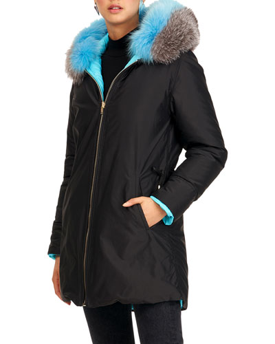 Reversible Quilted Puffer Apres-Ski Parka Jacket W/ Detachable Fox Fur Hood ...