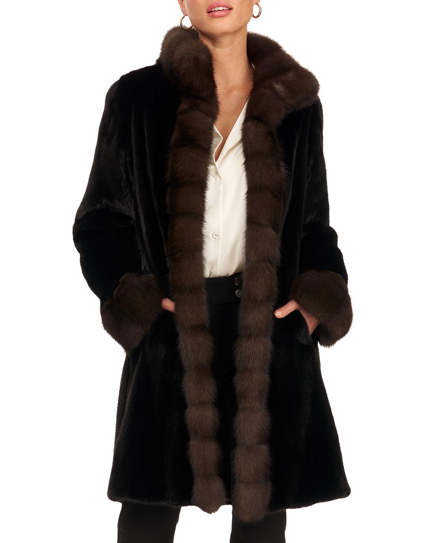 Mink Fur Stroller W/ Sable Tuxedo Collar And Band Cuff