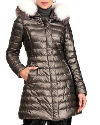 Apres-Ski Zip-Front Quilted Puffer Jacket W/ Detachable Fox Fur Hood Trim