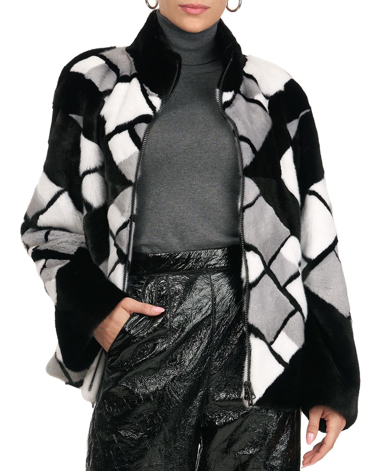 Mink Fur Zip-Front Jacket