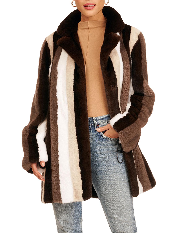Mink Fur Stroller W/ Notch Collar