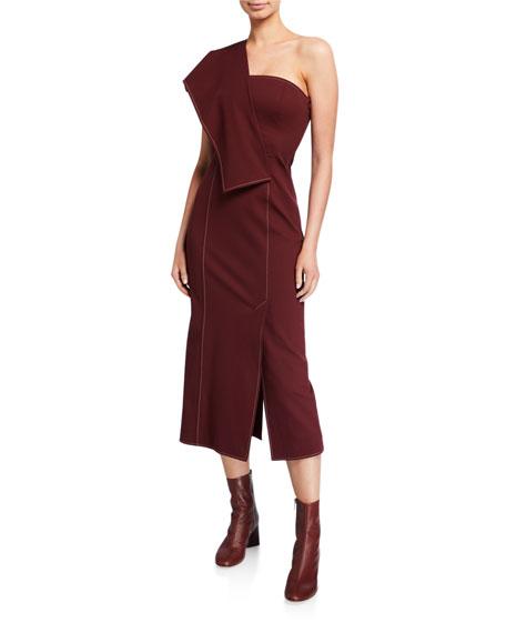 ADEAM Asymmetric Ruffled Dress
