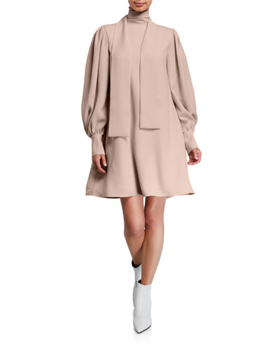 Tie-Neck Full-Sleeve Dress