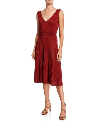 Ribbed Silk-Cotton Sleeveless Dress