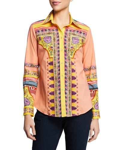 Floral Print Engineered Yoke Shirt