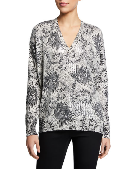 Etro Fern Paisley Sequined Front Tunic