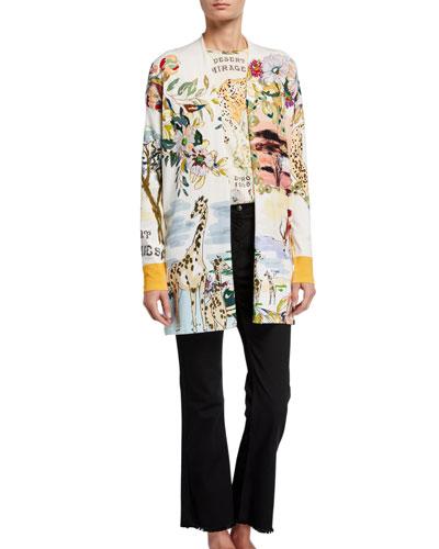 Safari-Print Silk-Knit Duster Cardigan