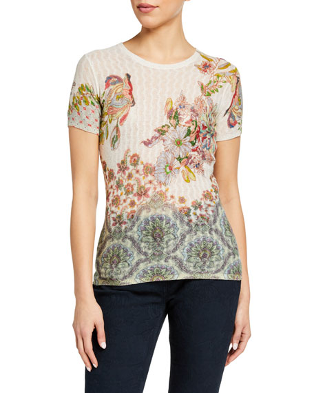 Etro Floral Sheer Cable-Knit T-Shirt