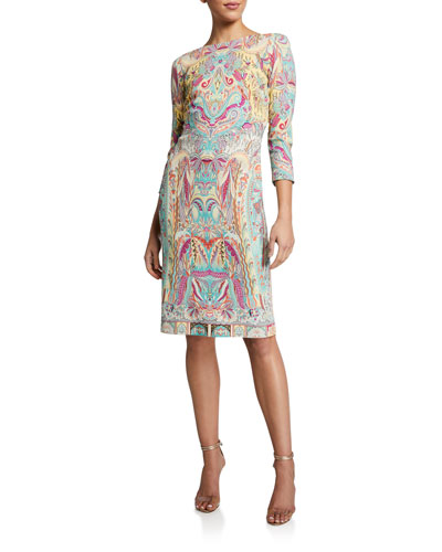Pastel Paisley 3/4-Sleeve Jersey Sheath Dress
