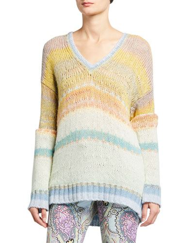 Ombre V-Neck Sheer-Striped Sweater