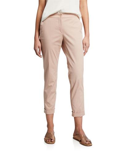 Cuffed Cotton Capri Pants