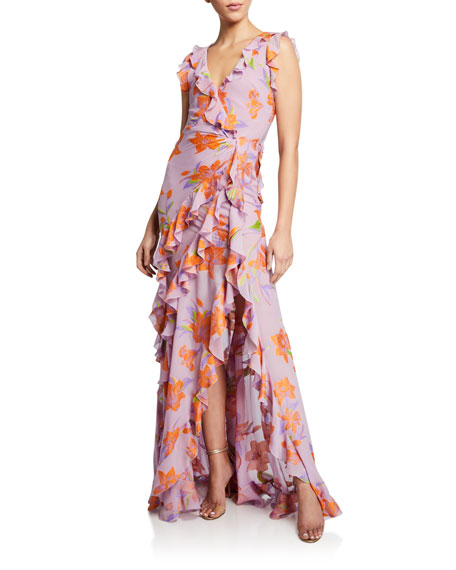 Etro Buttercup Embroidered Ruffled Gown
