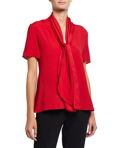 Tie-Neck Short-Sleeve Textured Blended Satin Blouse