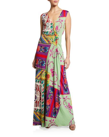Etro Mosaic Tile-Print Asymmetric Gown