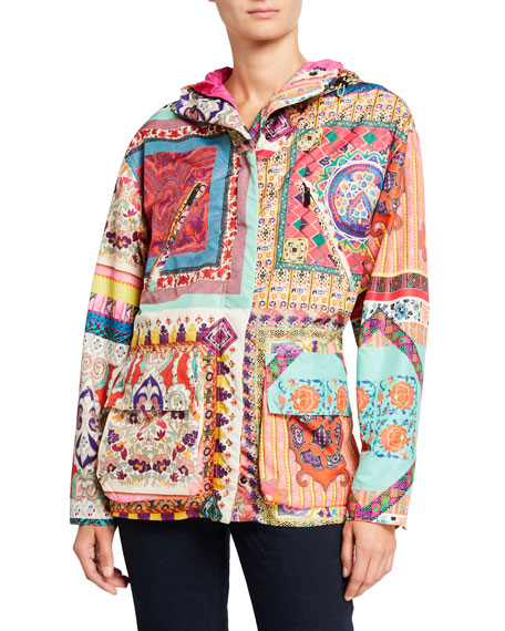 Etro Mosaic Patchwork Lightweight Quilted Jacket