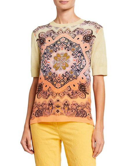 Etro Short-Sleeve Ombre Silk Front T-Shirt