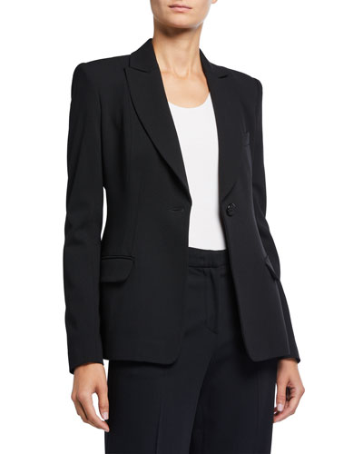 Textured Wool Blend One-Button Seamed Jacket