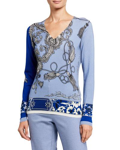 Tassel Floral Silk V-Neck Sweater
