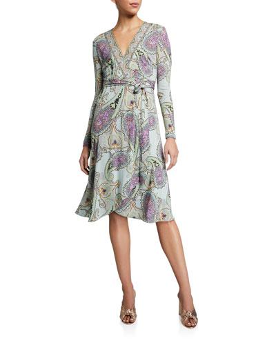 Engineered Jersey V-Neck Wrap Dress