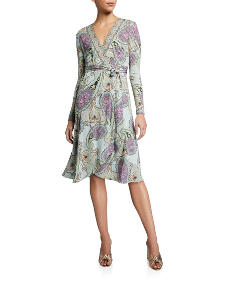 Etro Engineered Jersey V-Neck Wrap Dress