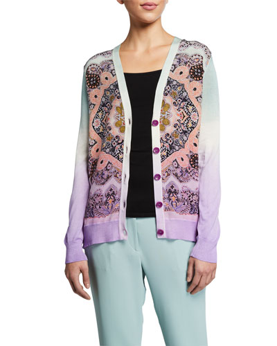 Ombre Silk Front Paisley Cardigan