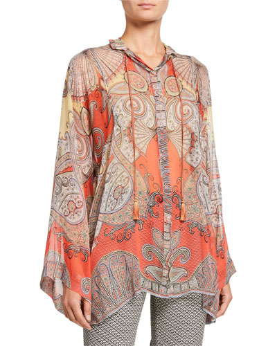 Sheer Paisley-Print Tie-Neck Blouse