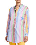 Etro Crest-Embroidered Striped Tunic Shirt and Matching Items