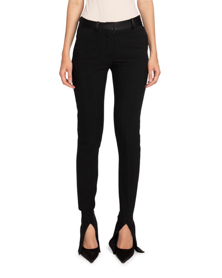 Victoria Beckham Twill Slit-Cuff Tuxedo Trousers, Black