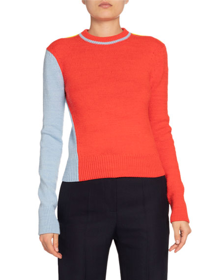 Victoria Beckham Colorblocked Wool-Blend Crewneck Sweater