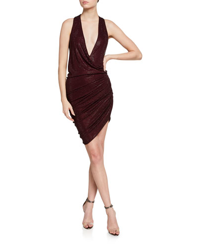 Ruched Micro Crystal-Embellished Jersey Dress