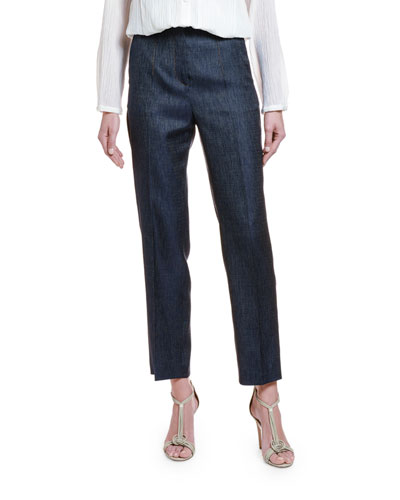 Wool-Silk Chambray Straight-Leg Trousers