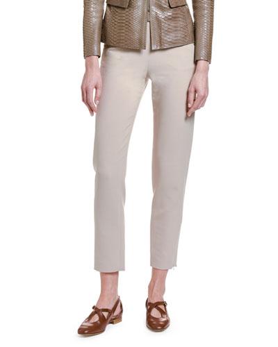 Stretch Wool Slim-Leg Crop Pants
