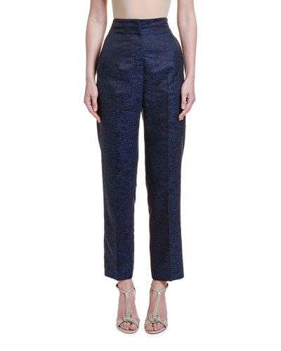 Printed Silk Jacquard High-Rise Trousers