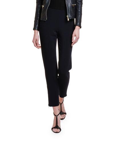 Textured Stretch-Wool Slim-Leg Pants w/ Zip Cuffs