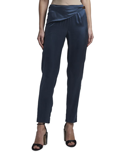 Satin Wrap-Waist Slim-Leg Pants
