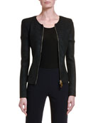 Giorgio Armani Coated Ottoman Ribbed Zip-Front Jacket