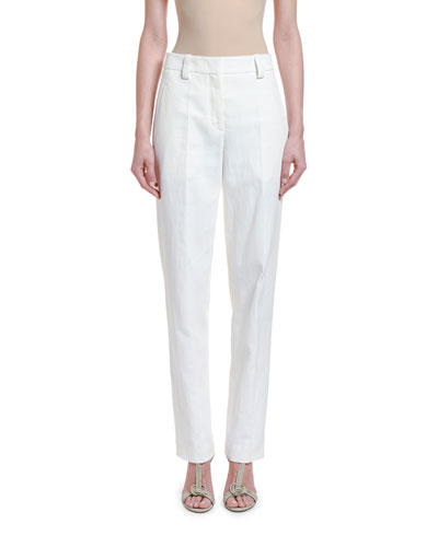 Cotton-Twill Straight-Leg Trousers