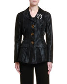 Giorgio Armani Pleated Mesh Tortoiseshell Button Jacket