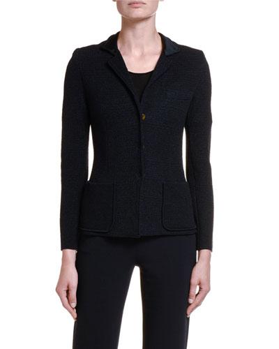 Textured Stretch-Wool Blazer Jacket