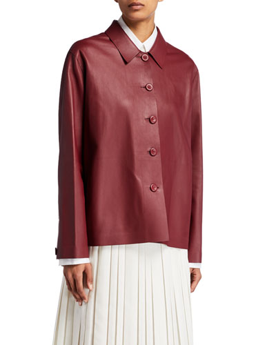 Frim Leather Button-Front Jacket