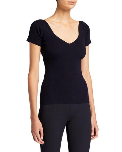 Tain Merino-Cashmere Short-Sleeve Top