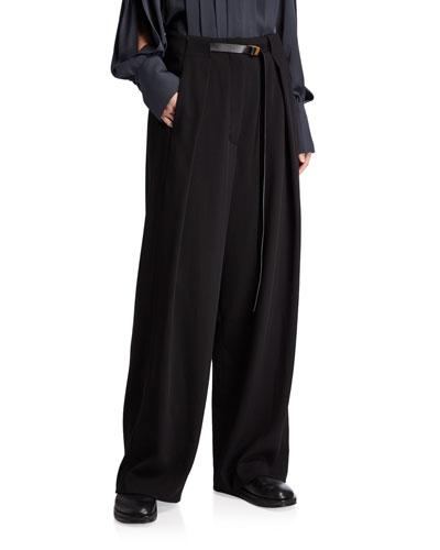 Brona Belted Wool Wide-Leg Pants