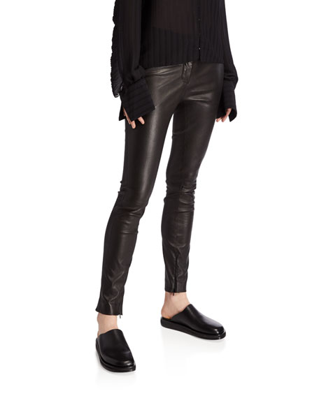 THE ROW Jodphur Shiny Stretch Leather Pants