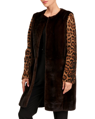 Mink Fur Stroller Coat w/ Shearling Lamb Sleeves