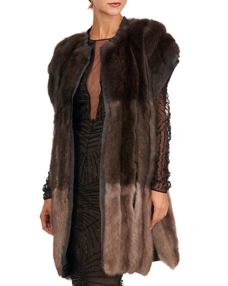 Burnett New York Colorblock Sable Fur Vest