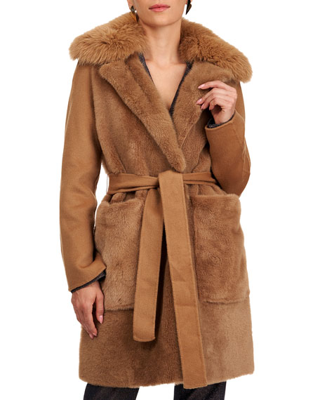Yves Solomon Shearling Lamb Stroller Coat w/ Fur And Cashmere
