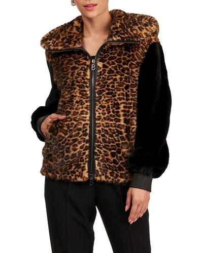 Mink Zip Bomber Parka Jacket