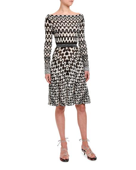 Missoni Optical Chevron Knit Long-Sleeve Dress