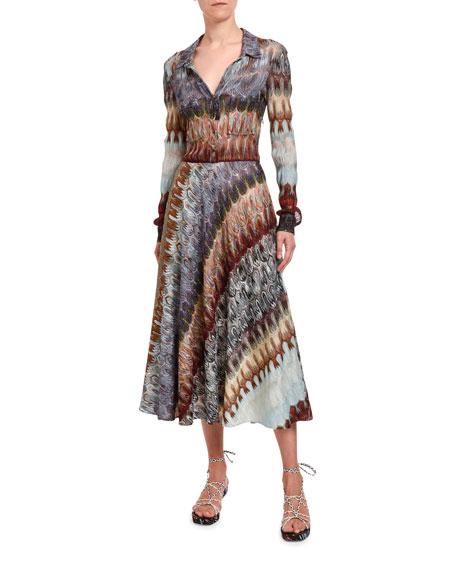 Missoni Diagonal Optical-Knit Shirtdress