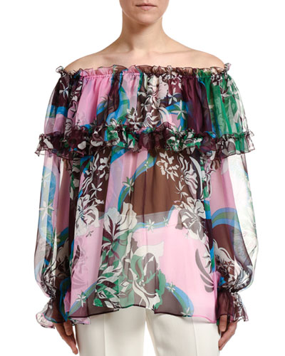 Floral-Print Ruffled Silk Off-the-Shoulder Blouse